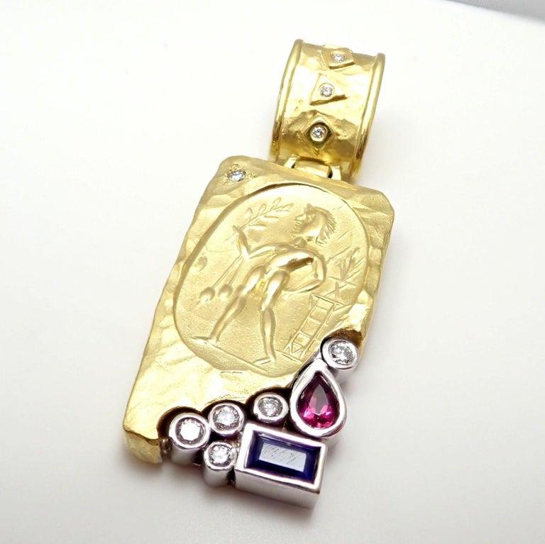SeidenGang Diamond Iolite Pink Tourmaline Yellow Gold Pendant Enhancer 4