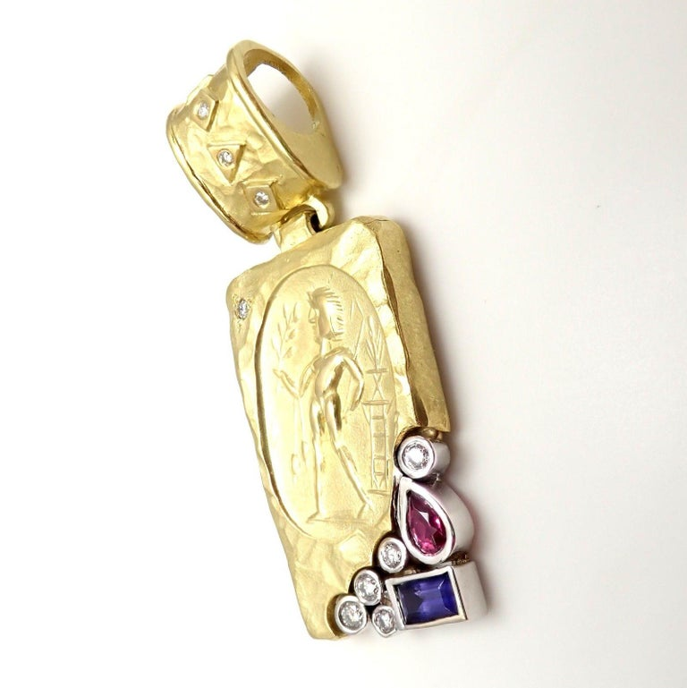 SeidenGang Diamond Iolite Pink Tourmaline Yellow Gold Pendant Enhancer 5