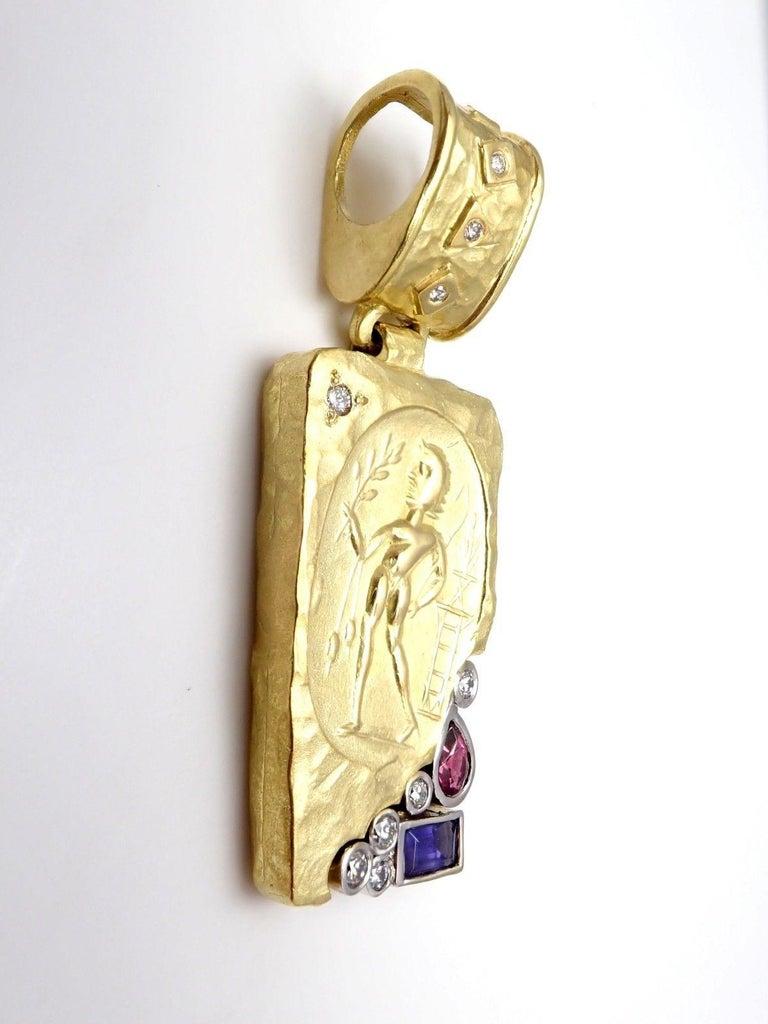 SeidenGang Diamond Iolite Pink Tourmaline Yellow Gold Pendant Enhancer 6