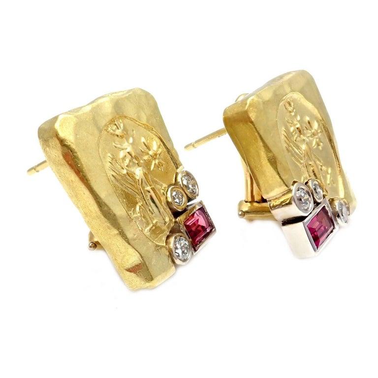 SeidenGang Diamond Pink Tourmaline Yellow Gold Earrings 2