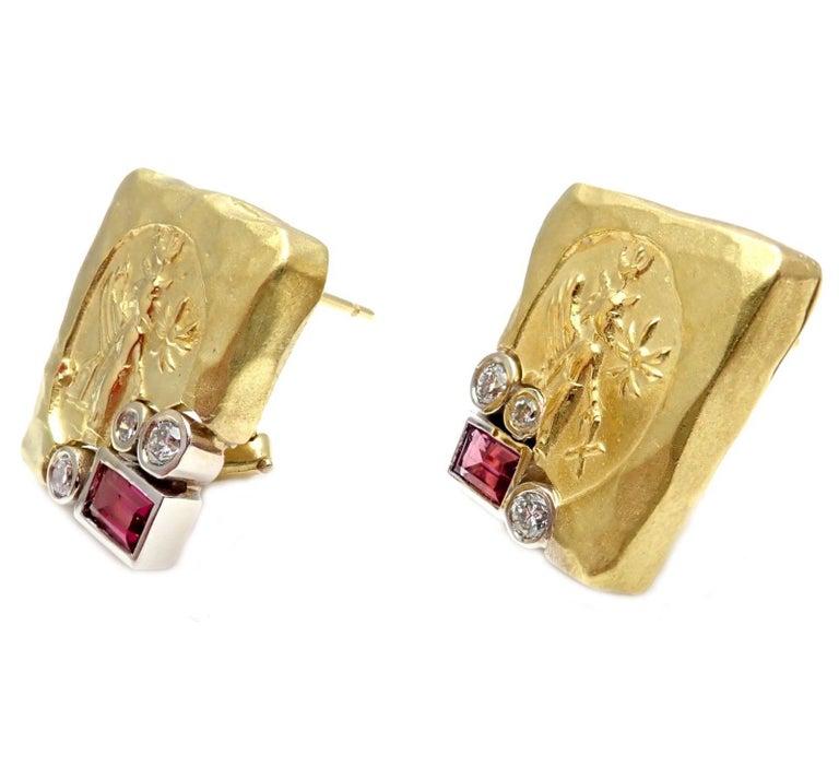 SeidenGang Diamond Pink Tourmaline Yellow Gold Earrings 3
