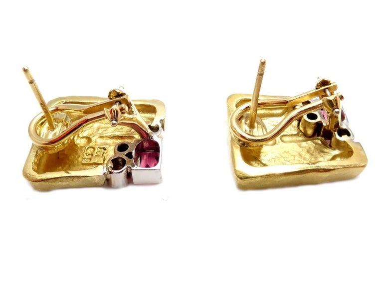SeidenGang Diamond Pink Tourmaline Yellow Gold Earrings 4