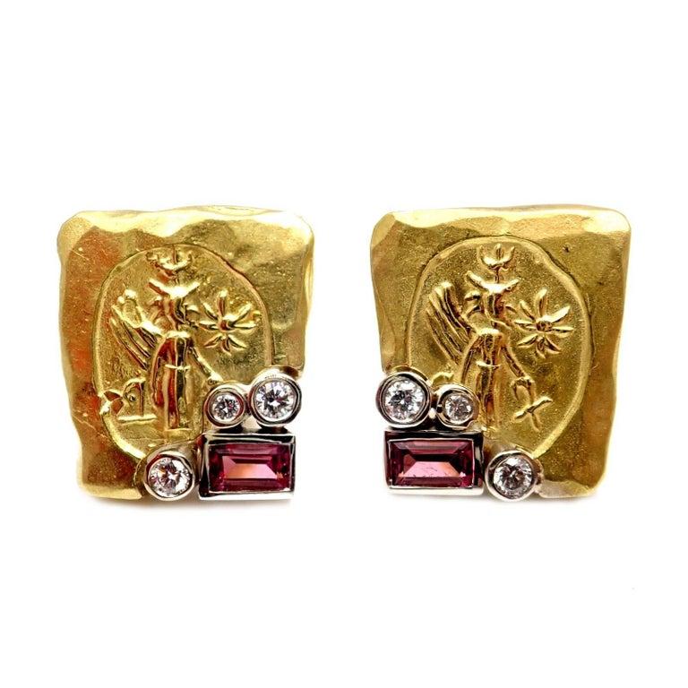 SeidenGang Diamond Pink Tourmaline Yellow Gold Earrings 5