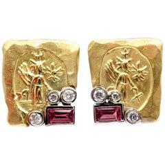 SeidenGang Diamond Pink Tourmaline Yellow Gold Earrings