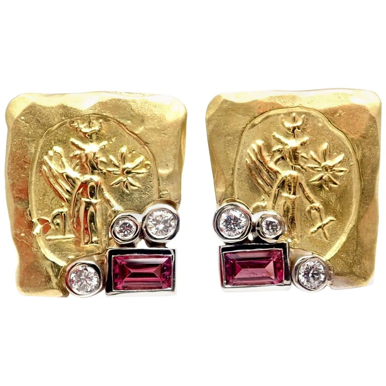 SeidenGang Diamond Pink Tourmaline Yellow Gold Earrings 1