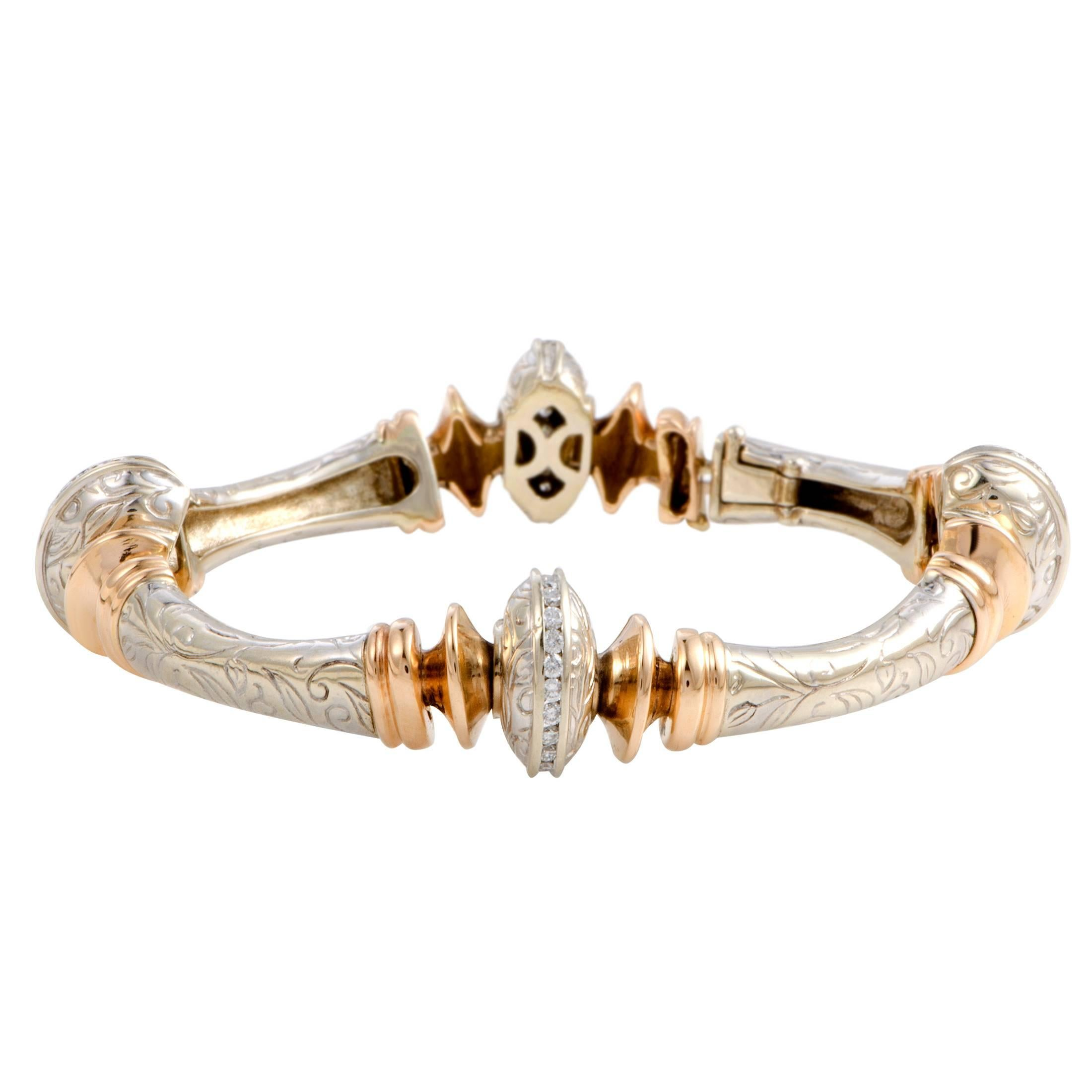 bracelet bangle diamond roberto with diamonds product italian s yellow and row barocco in coin gold white