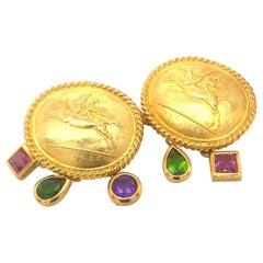 SeidenGang Earrings 18k Yellow Gold with Green & Pink Garnets Amethyst