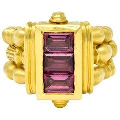 Seidengang Rhodolite Garnet 18 Karat Gold Classic Stacking Band Ring