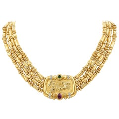 SeidenGang Tourmaline Greek God Helios Necklace in 18 Karat Yellow Gold