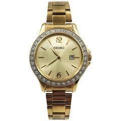 Seiko Dress Crystals Champagne Dial Gold Tone Steel Quartz Ladies Watch SXDF82