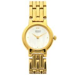 Seiko Gold Tone Stainless Steel Mother of Pearl Dial Quartz Ladies Watch SXJB70