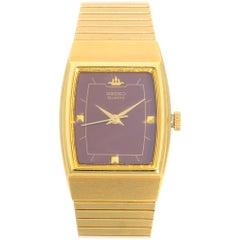 Seiko Gold Tone Stainless Steel Purple Dial Quartz Ladies Watch SYA026J