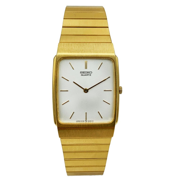 Seiko Gold Tone Stainless Steel Quartz Unisex Watch In Good Condition In New York, NY