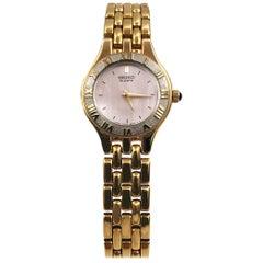 Seiko Gold Tone Steel Pink Mother of Pearl Dial Quartz Ladies Watch SXNC60