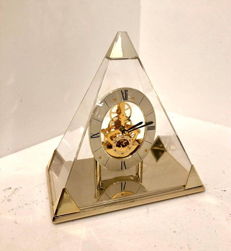 Seiko Lucite Pyramid Design Skeleton Mantel Or Desk Clock