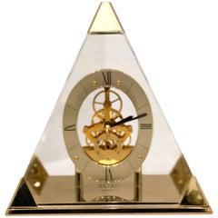 Seiko Lucite Pyramid Design Skeleton Mantel or Desk Clock Postmodern