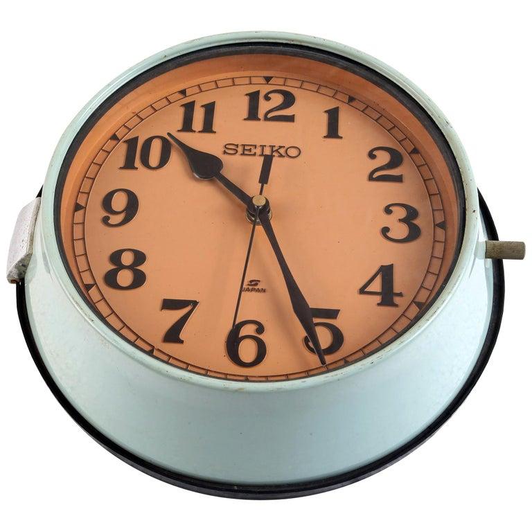 Seiko Ship's Nautical Clock in Green Metal Case, 1970s For Sale