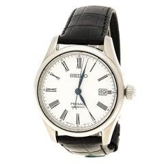 Seiko White Stainless Steel Presage Unlimited Enamel Men's Wristwatch 40 mm