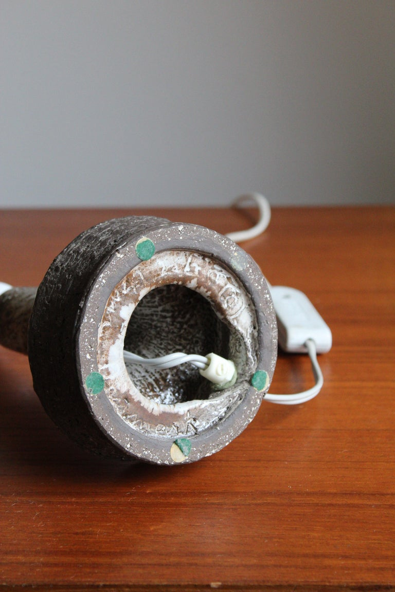 Sejer Keramik, Table Lamp, Glazed Stoneware, Denmark, 1960s In Good Condition For Sale In West Palm Beach, FL