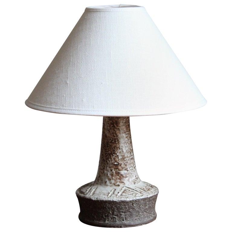 Sejer Keramik, Table Lamp, Glazed Stoneware, Denmark, 1960s For Sale