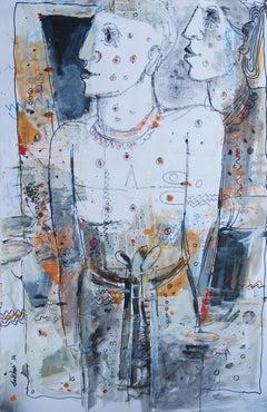 Couple By Indian Artist Sekhar Kar : Beautiful Mixed Media in blue,black & white