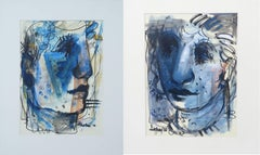 "Couple, Faces, Mixed Media, Blue, Black, White by Indian Artist ""In Stock"""