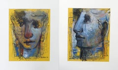 "Expression, Faces, Mixed Media, Blue, Black, White by Indian Artist ""In Stock"""
