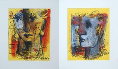 "Man & Woman, Faces, Mixed Media, Red, Blue, Brown by Indian Artist ""In Stock"""