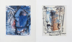 "Faces, Calmness & Serenity, Mixed Media on paper, Blue, White, Brown ""In Stock"""