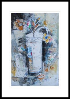 """Flower Vase, Mixed Media on paper, Blue, Red, Black by Indian Artist """"In Stock"""""""