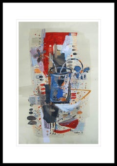 "Flower Vase, Mixed Media on paper, Red, Blue, Black by Indian Artist ""In Stock"""