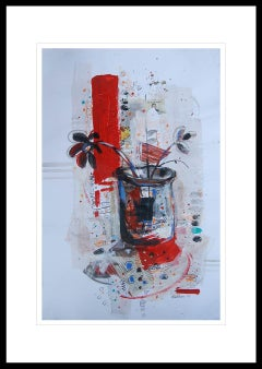 """Flower Vase,  Mixed Media Painting, Red, Black, Blue by Indian Artist """"In Stock"""""""