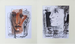 Moods : by Sekhar Kar in Mixed Media black & white ;a dash of serene burnt cyna