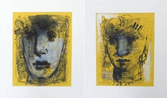 "Moods, Faces, Calmness, Serenity, Mixed Media, Blue, Brown, Yellow ""In Stock"""