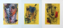 "Woman Faces, Mixed Media, Blue, Brown, Red, Yellow by Indian Artist ""In Stock"""