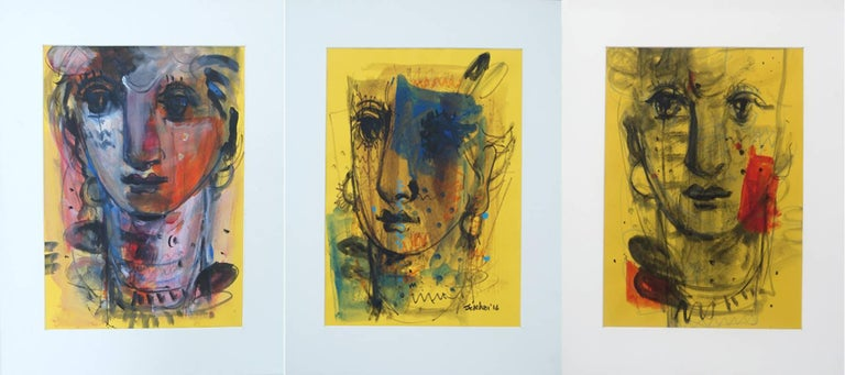 Woman Faces by Sekhar Kar made in Gorgeous Mixed Media works in serene colors