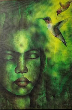 "Untitled, Acrylic on Canvas, Green, Yellow by Indian Artist ""In Stock"""