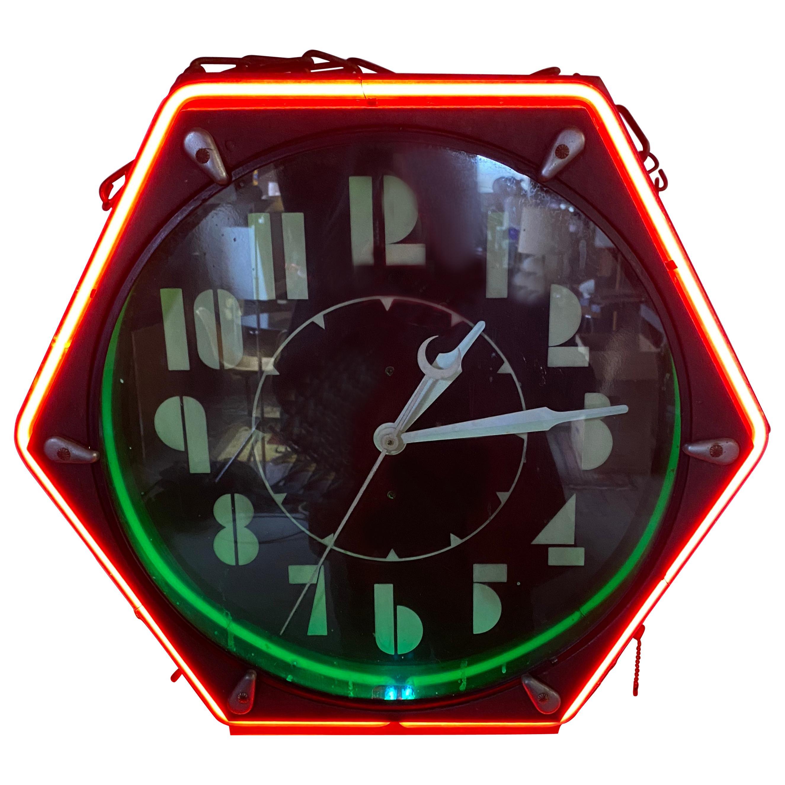 Seldom Seen Art Deco Neon Hexagon Clock, 'The Electric Clock Co. Cleveland