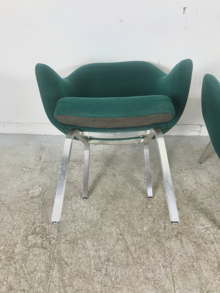 Designed for one year in very limited production run, executive lounge armchairs designed by Eero Saarinen for Knoll, unusual square stock aluminum bases, slightly lower back legs make these extremely comfortable, perfect position, retain original