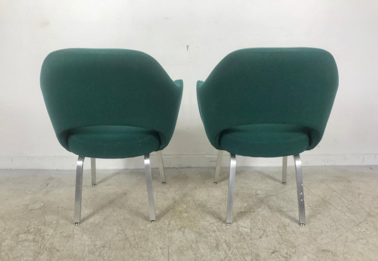 Seldom Seen Pair of Early Saarinen/Knoll Executive Armchairs, Aluminum Bases For Sale 1