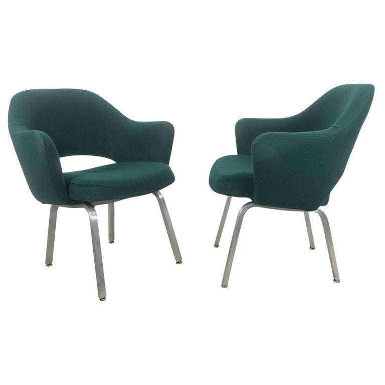 Seldom Seen Pair of Early Saarinen/Knoll Executive Armchairs, Aluminum Bases For Sale
