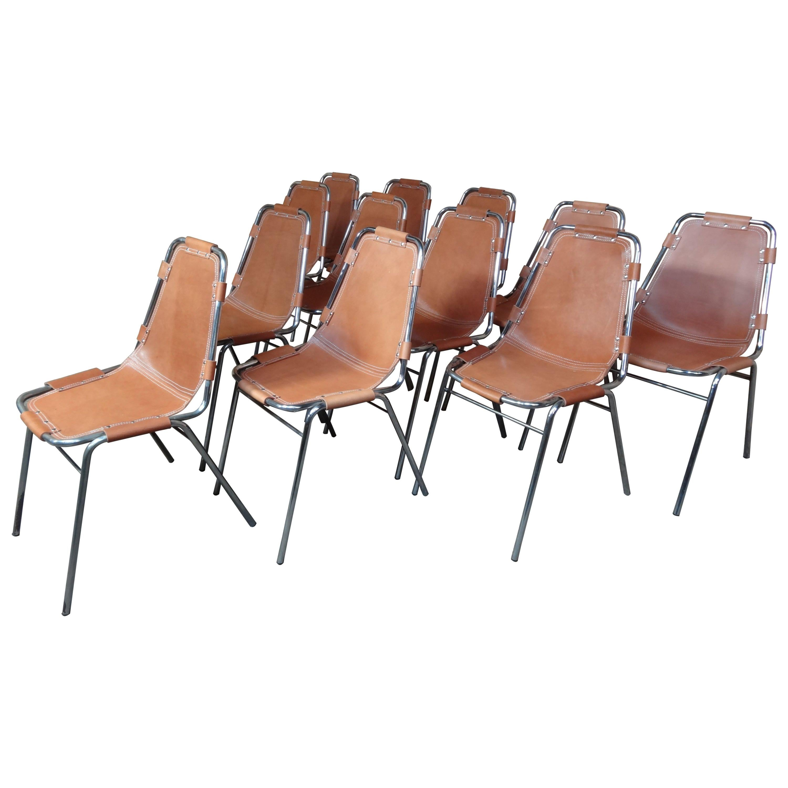 Selected by Charlotte Perriand for Les Arcs Ski Resort, 12 Leather Dining Chairs