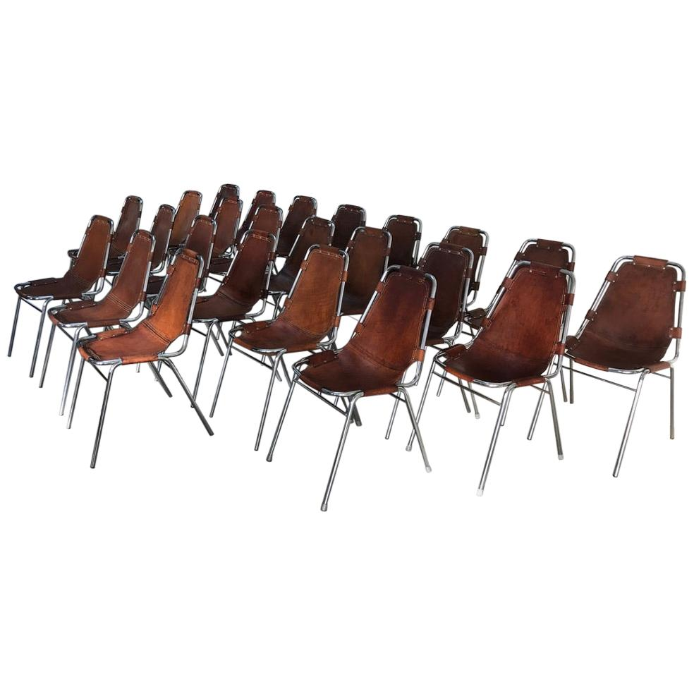 Selected by Charlotte Perriand for Les Arcs Ski Resort, 24 Leather Dining Chairs