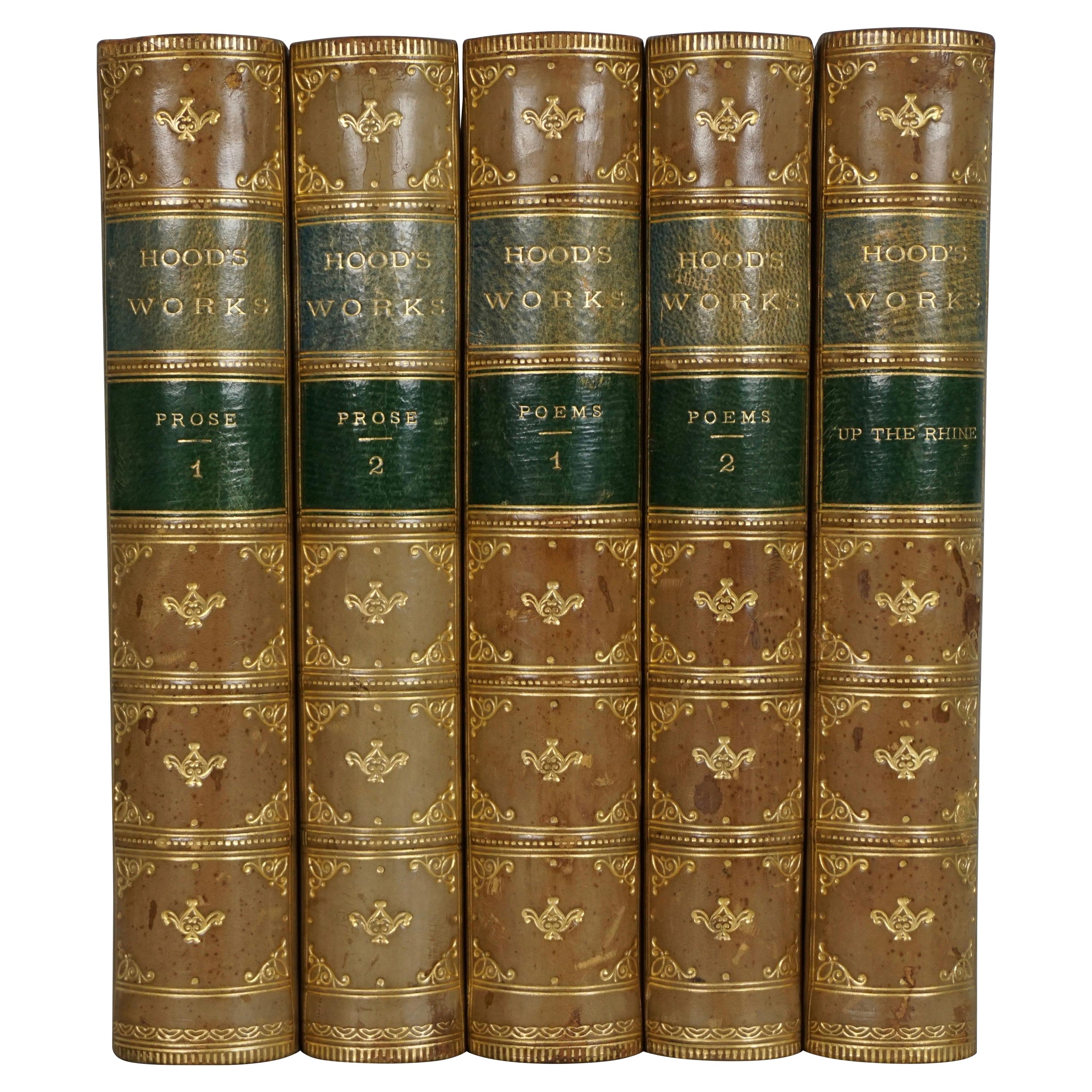 Selected Poems and Prose by Thomas Hood in 5 Leather Bound Volumes