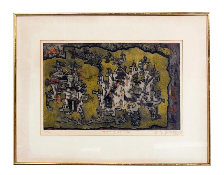 Selection of abstract modern lithographs or gallery wall, circa 1950s-1960s.  1) Pictured on the top,