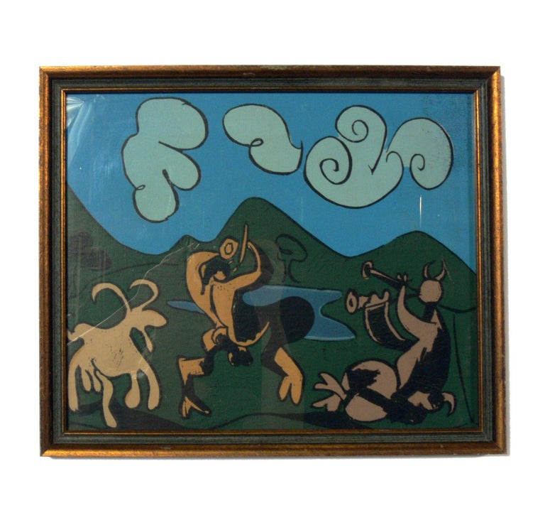 Gilt Selection of Abstract Modern Lithographs or Gallery Wall For Sale