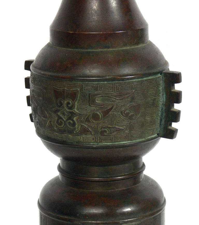 Chinoiserie Selection of Asian Bronze Lamps For Sale