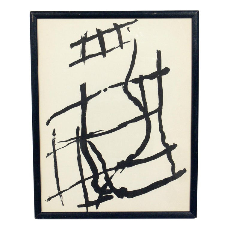 Selection of black and white abstract modernist artwork, circa 1960s. They are:  Top row from left to right: 1) Pol Bury lithograph, circa 1960s. It measures 14.5