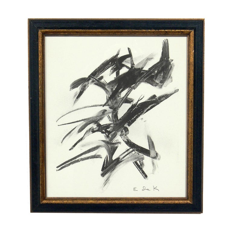 Glass Selection of Black and White Abstract Artwork For Sale