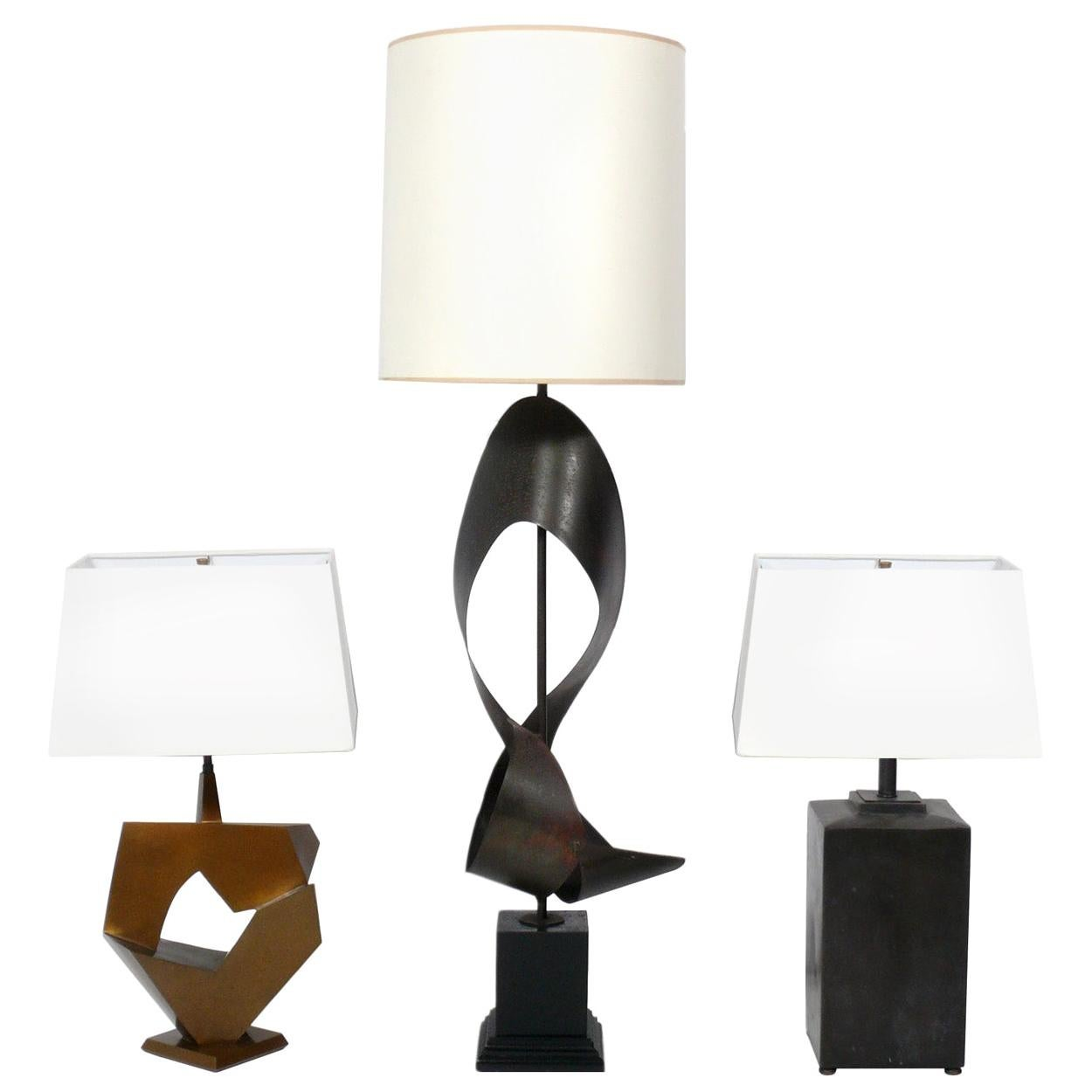 Selection of Bronze Modernist Lamps